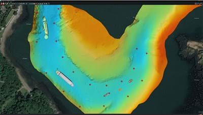 Virtual buoys and vessels marked out on a map with AIS data