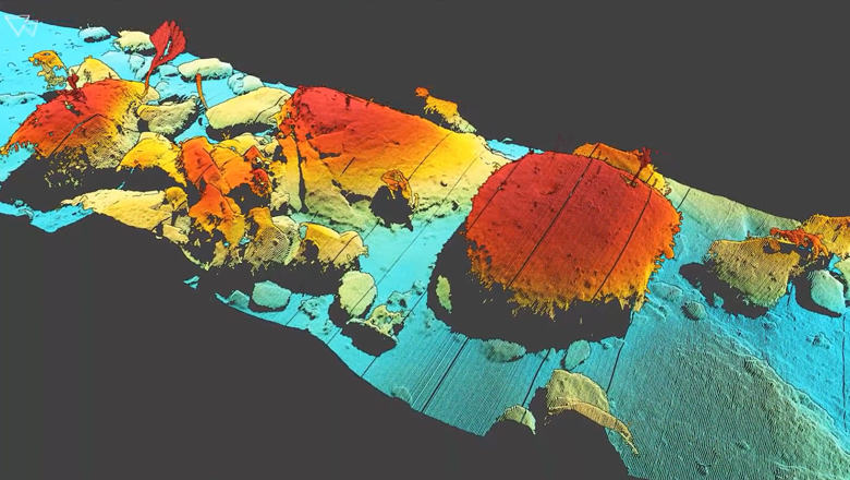 3D model of Monterey Canyon created with an underwater laser scanner