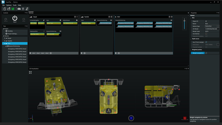 NaviPac 4.2 refined dynamic weighted positioning gives greater control and flexibility over how transponders are utilised within your ROV setup