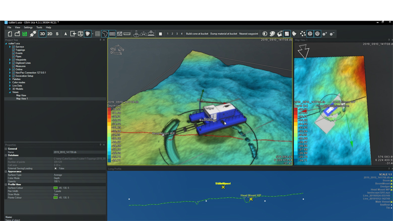 3D visualisation during cutter suction dredging operation in NaviSuite Uca