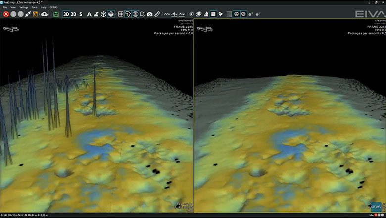 A digital terrain model DTM being cleaned of noisy sonar data in real-time