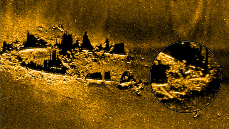 A shipwreck modelled in NaviSuite software from sidescan sonar data