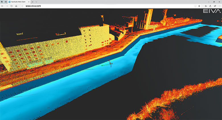 A multi-beam harbour survey visualised with 3D software
