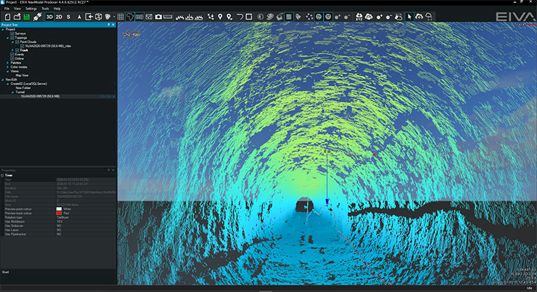 An ROV inspection of a flooded tunnel only accessible from the water side modelled in NaviModel software